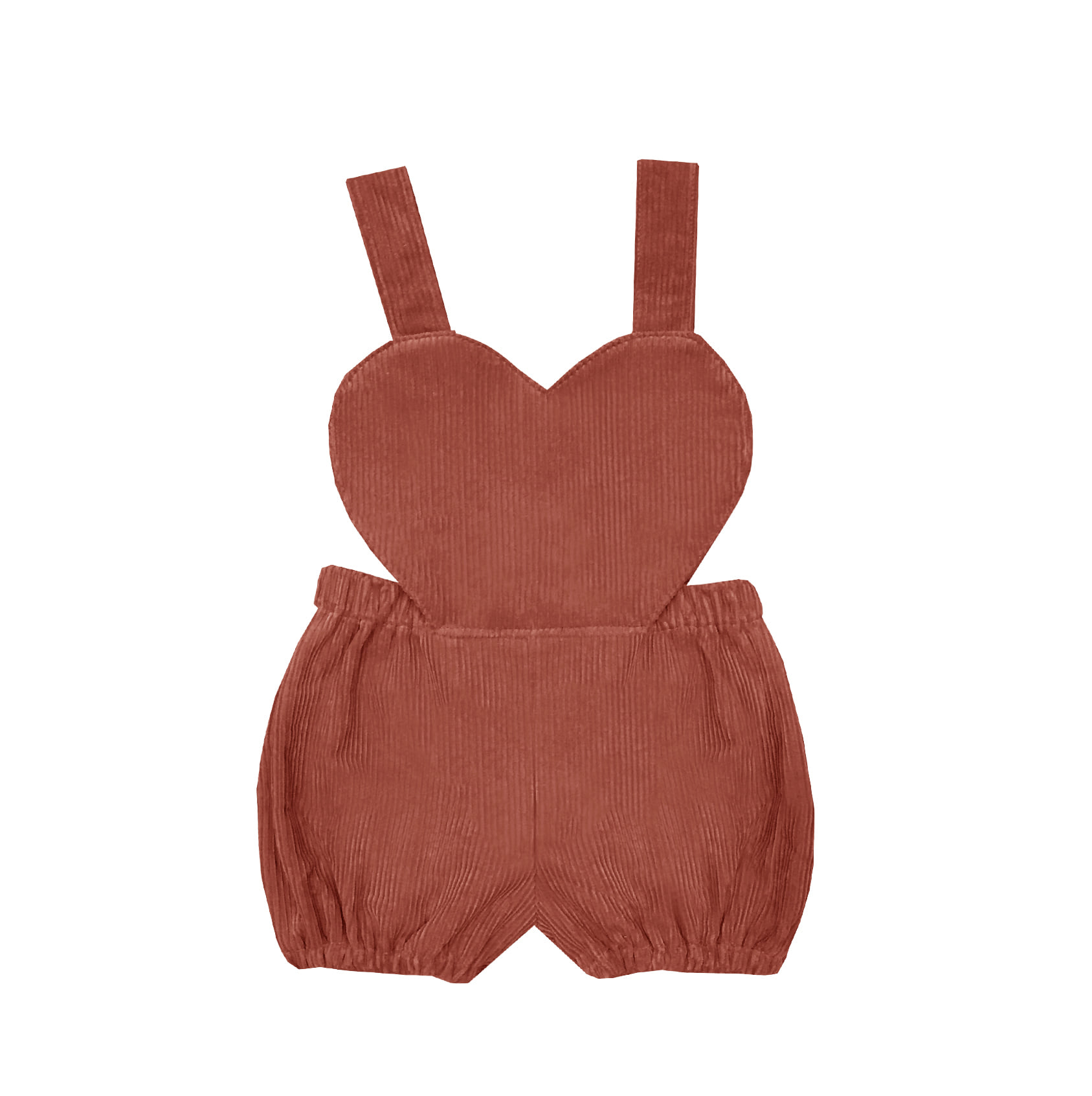 heart corduroy suspender suit (dark orange)