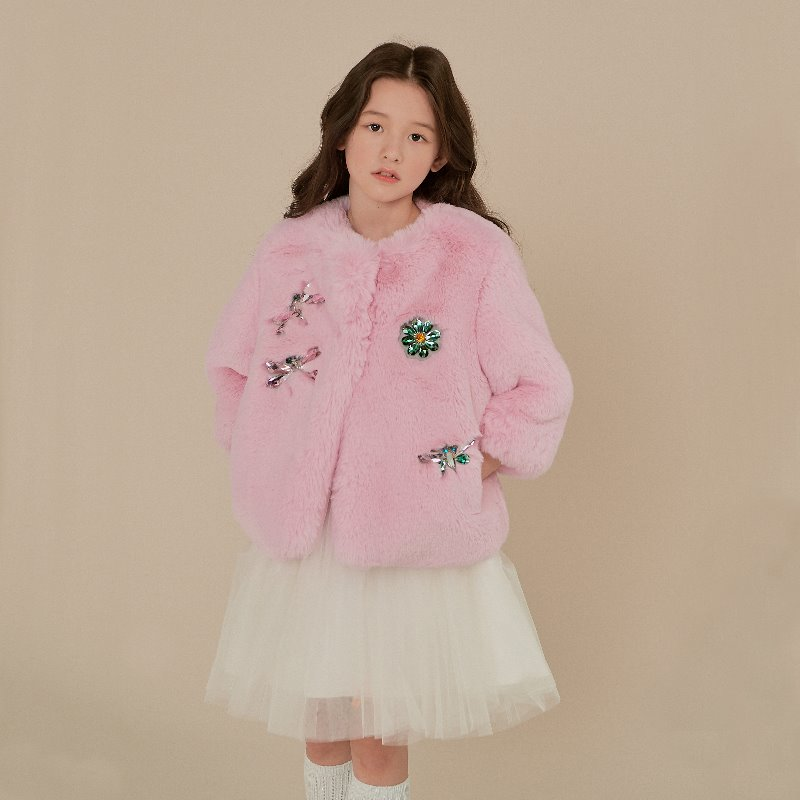 Strawberry pink embellished faux fur jacket (Long Sleeve)