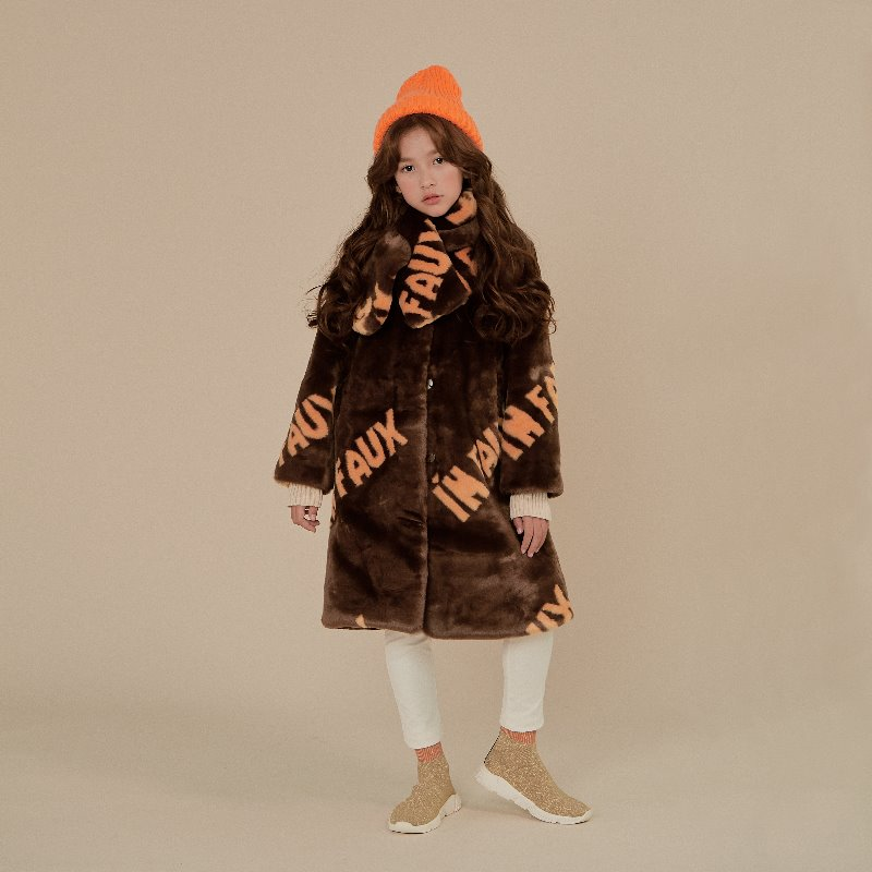 Lettering Faux Fur Coat with Muffler-Brown