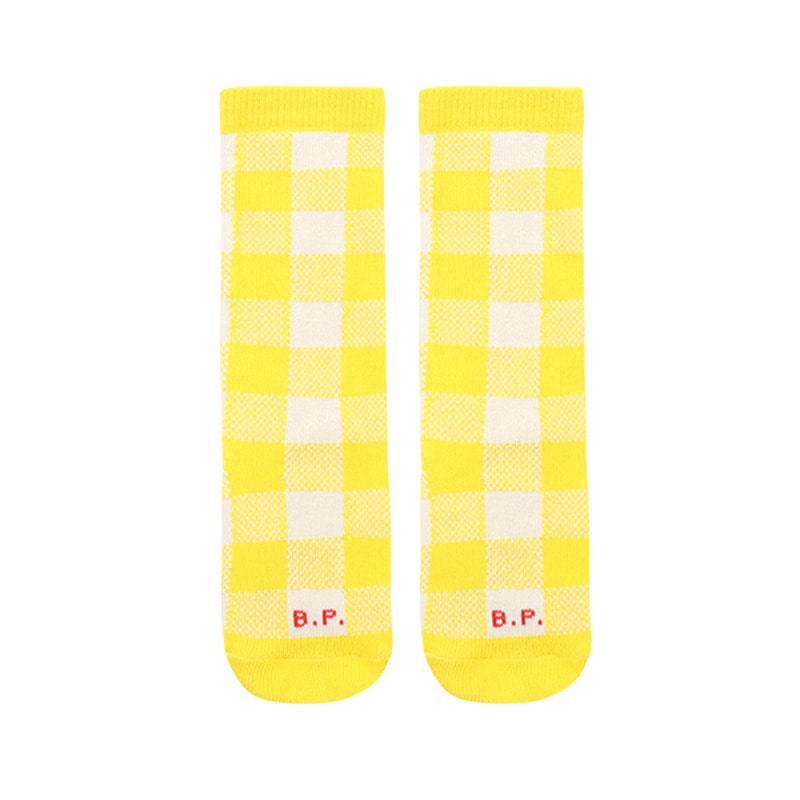 Yellow check knee socks