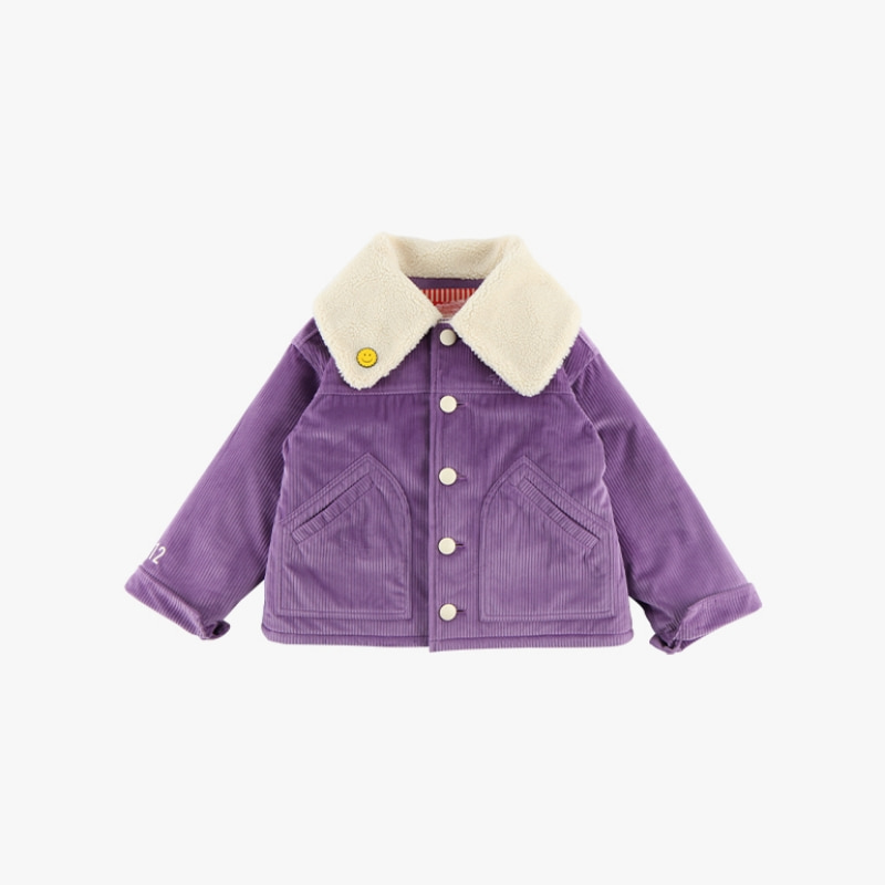Icebiscuit corduroy fluffy collar jacket