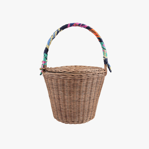 rattan bag with scarf