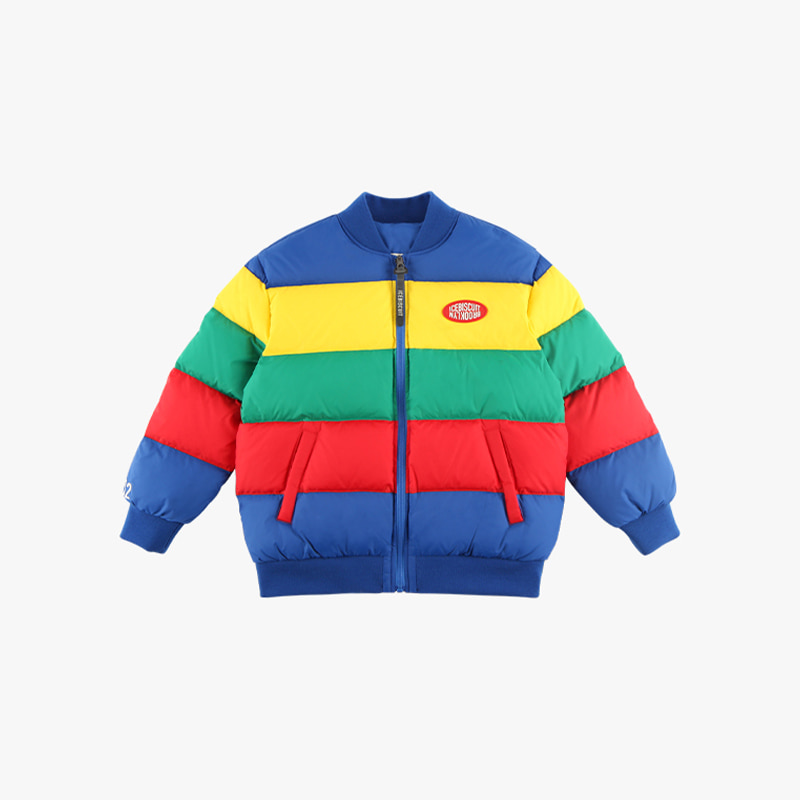 Icebiscuit color block reversible short down jacket