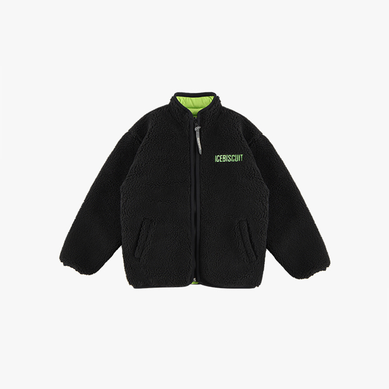 Icebiscuit-embroidered reversible fleece zip