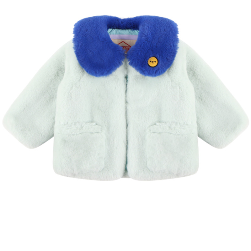 Smile color block faux fur coat