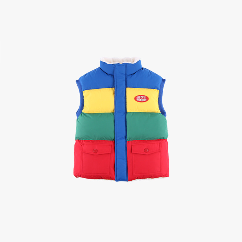 Icebiscuit color block reversible fleece wellon vest