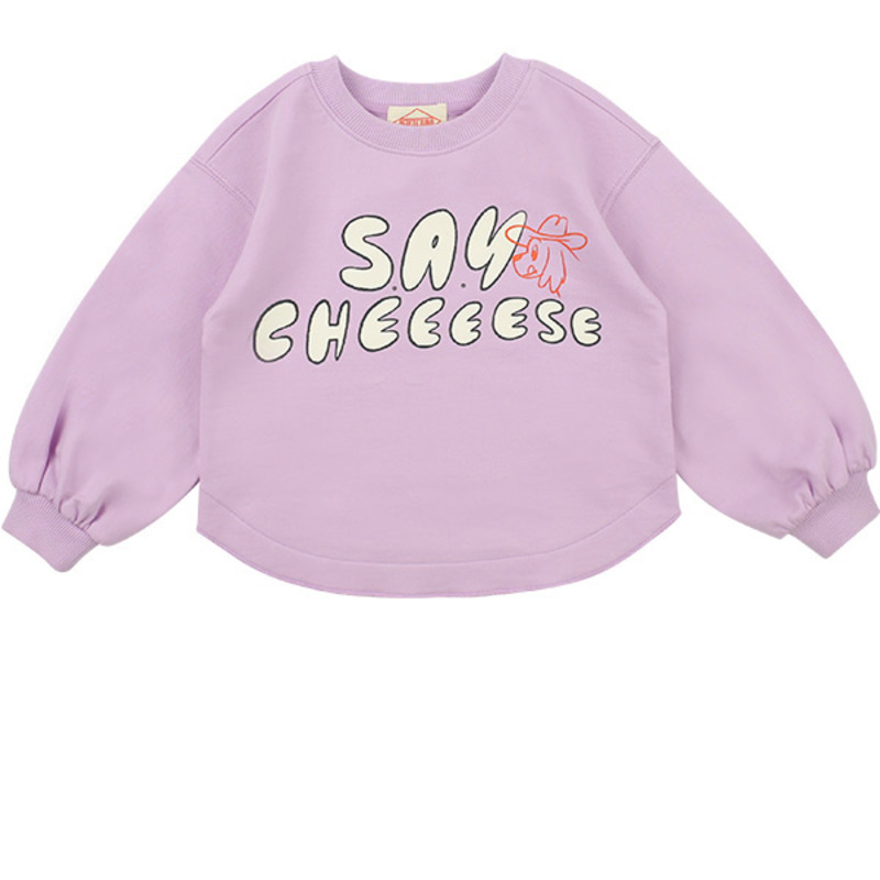 Say cheese puff sleeve sweatshirt