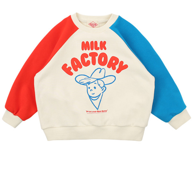 Milk factory color block raglan sweatshirt