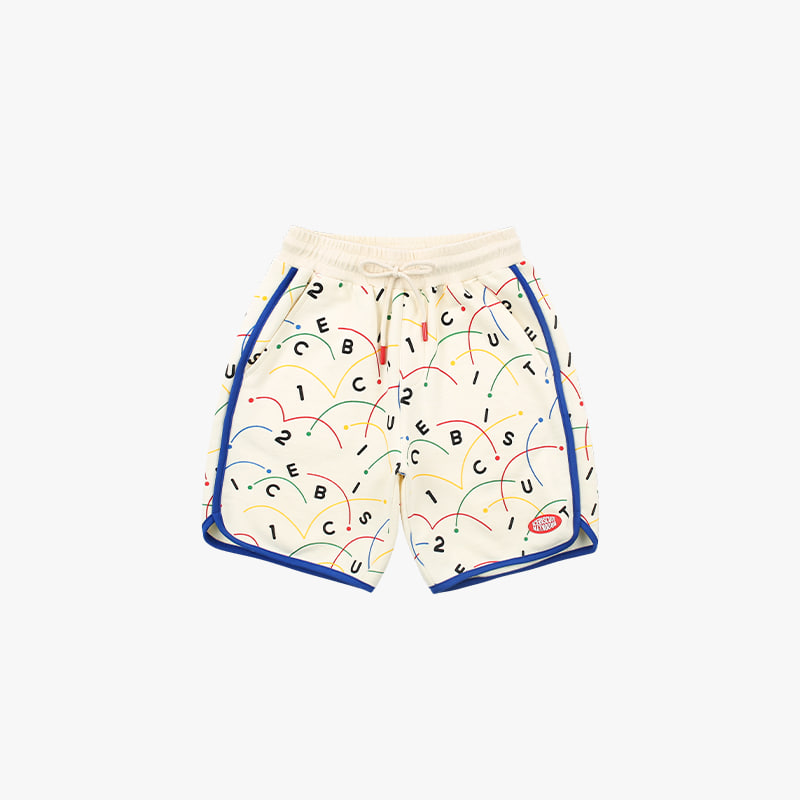 Colorful tennis-printed sweat shorts
