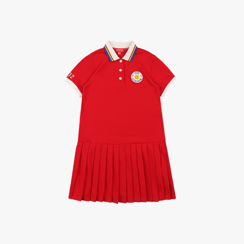 Smile emblem pique pleated dress
