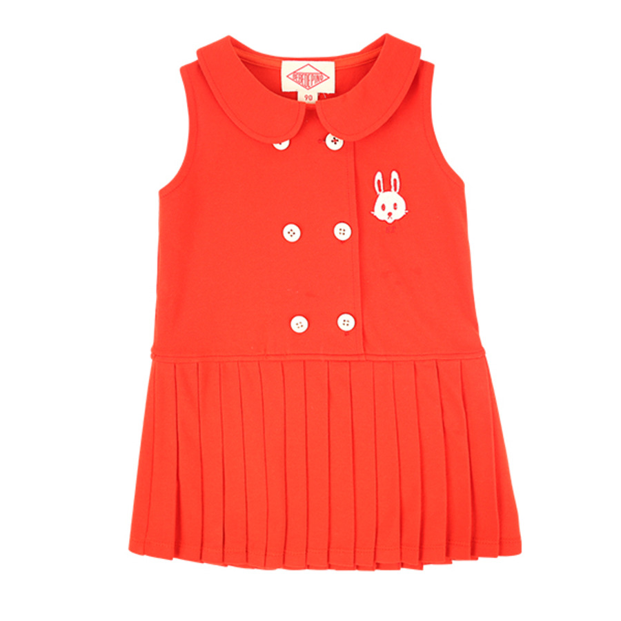 Bunny baby scarlet pique pleats dress