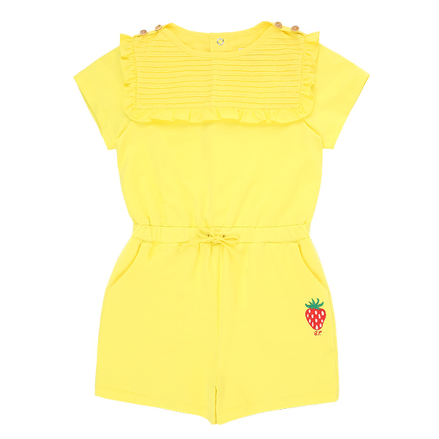 Strawberry cotton pin tuck ruffle playsuit