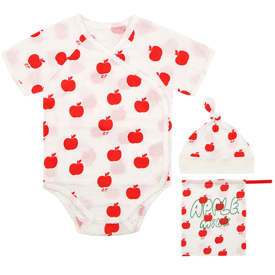 All over apple newborn bodysuit set