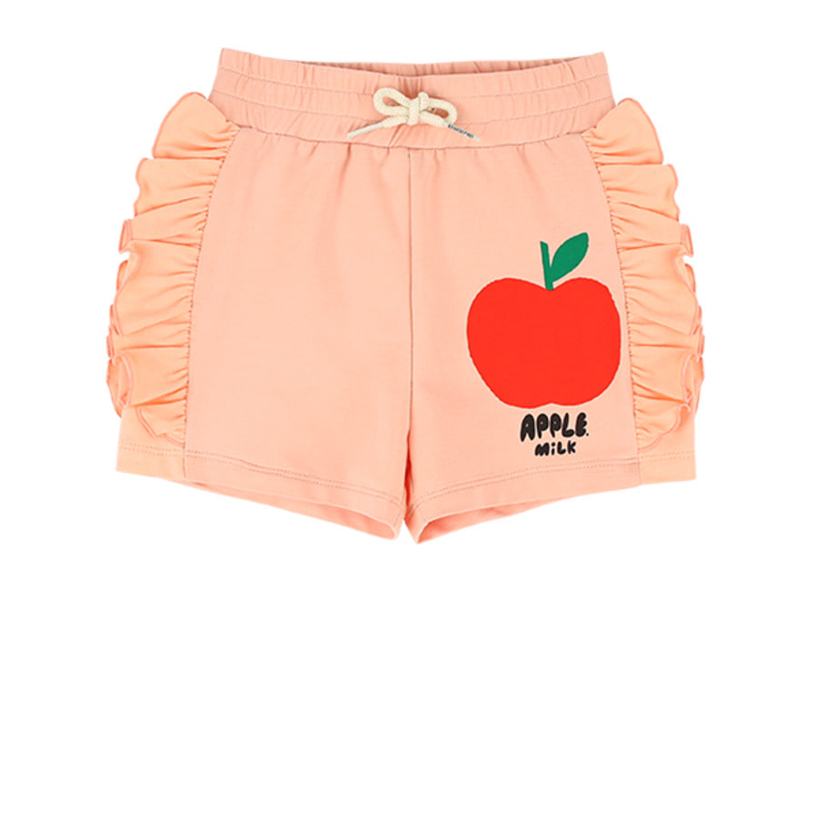 Apple milk ruffle jersey shorts