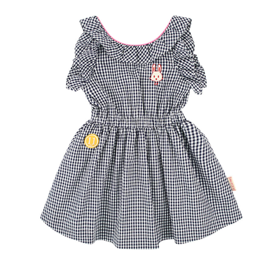 Bunny back point frill gingham check dress