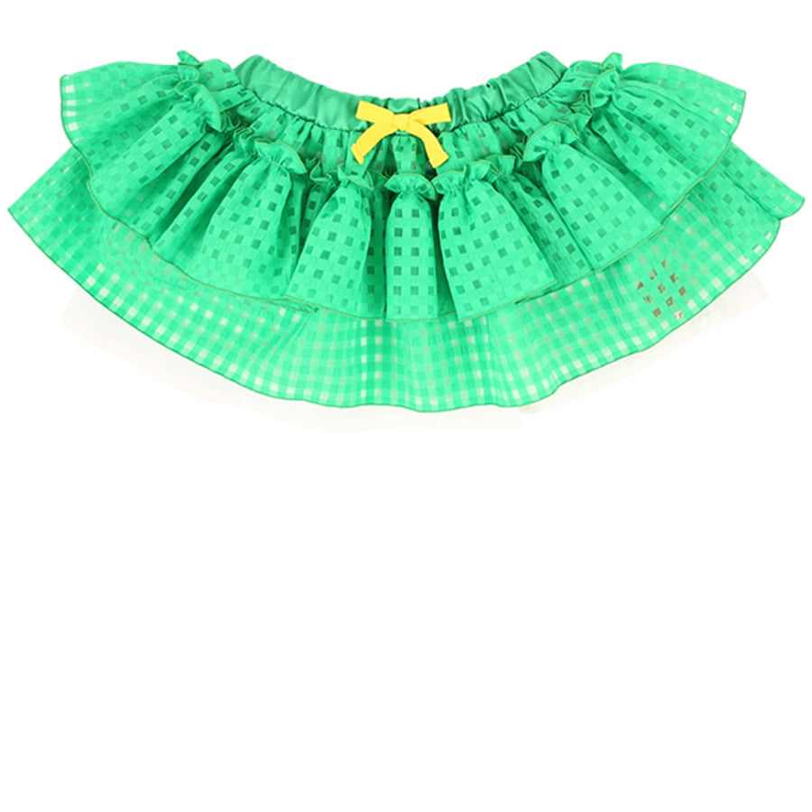 Apple milk green check tutu skirt set