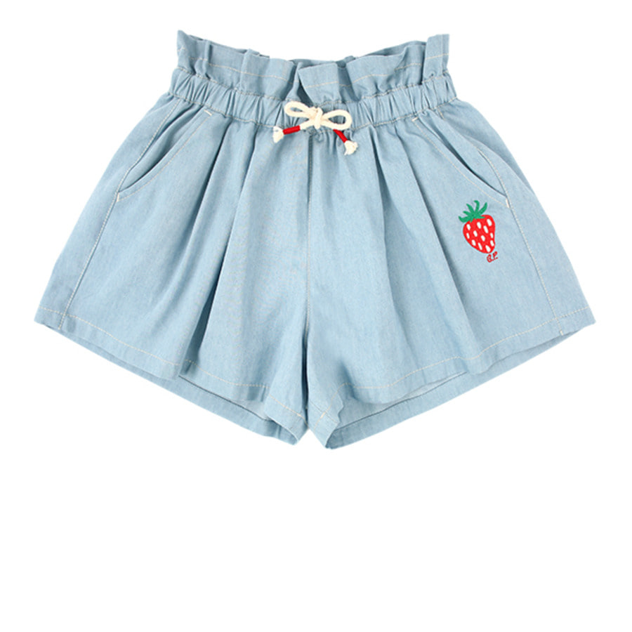 Strawberry tencel denim culottes shorts