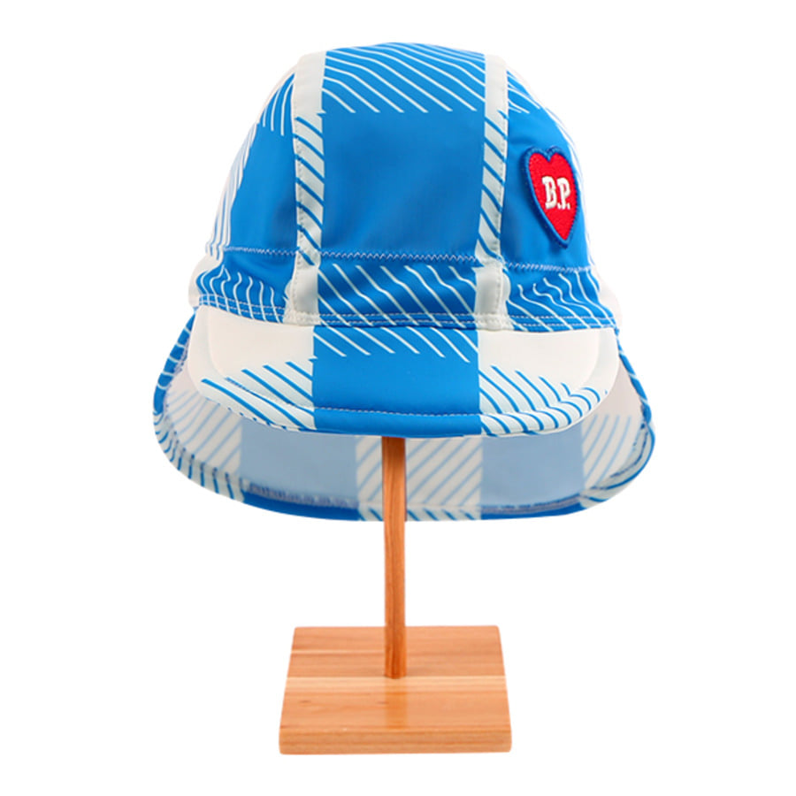 All over blue shepherd check swim hat