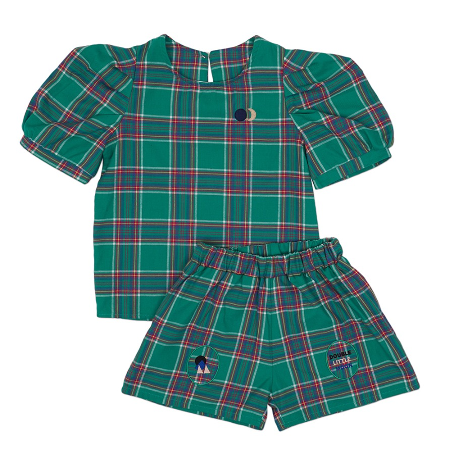 Moon Puff Shirt Set (green check)