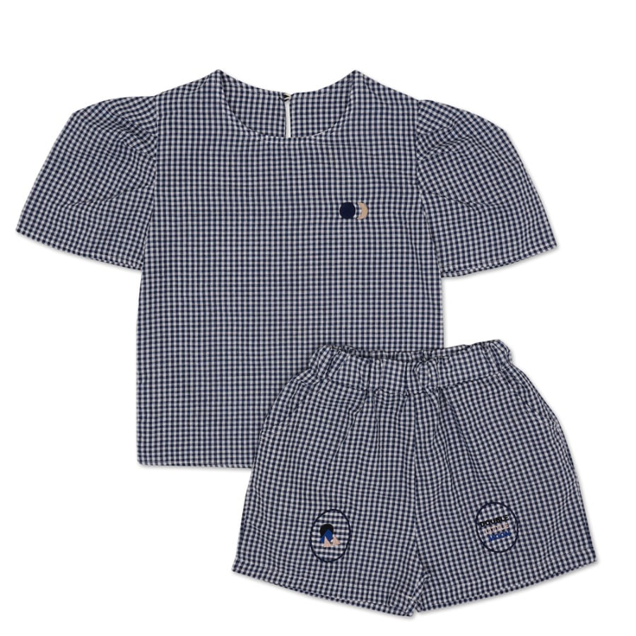 Moon Puff Shirt Set (navy)