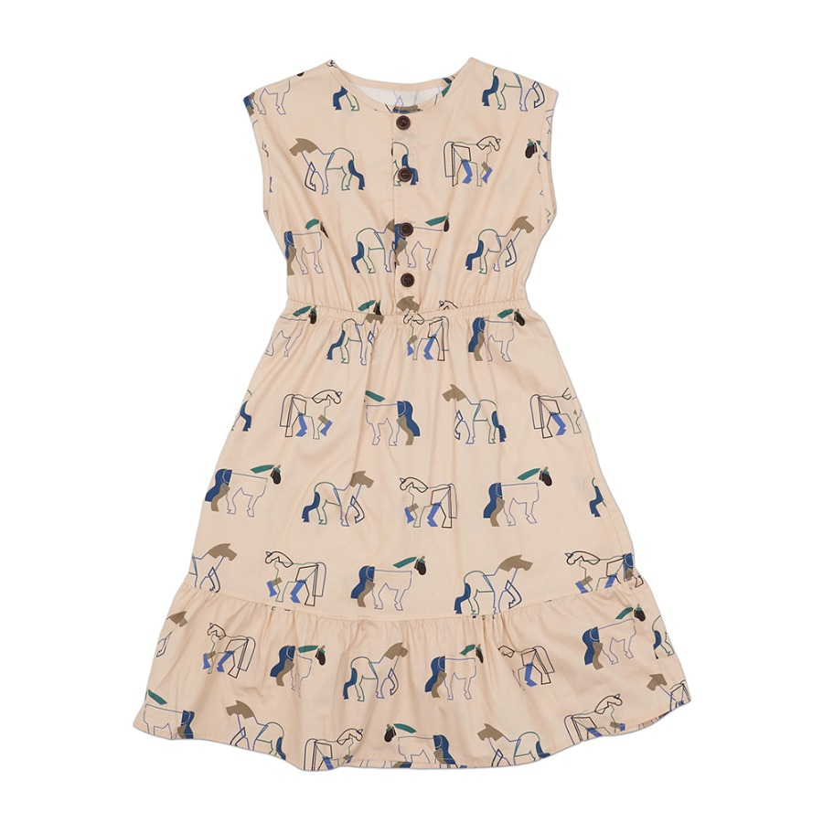 Double horse ruffle dress(Cream)