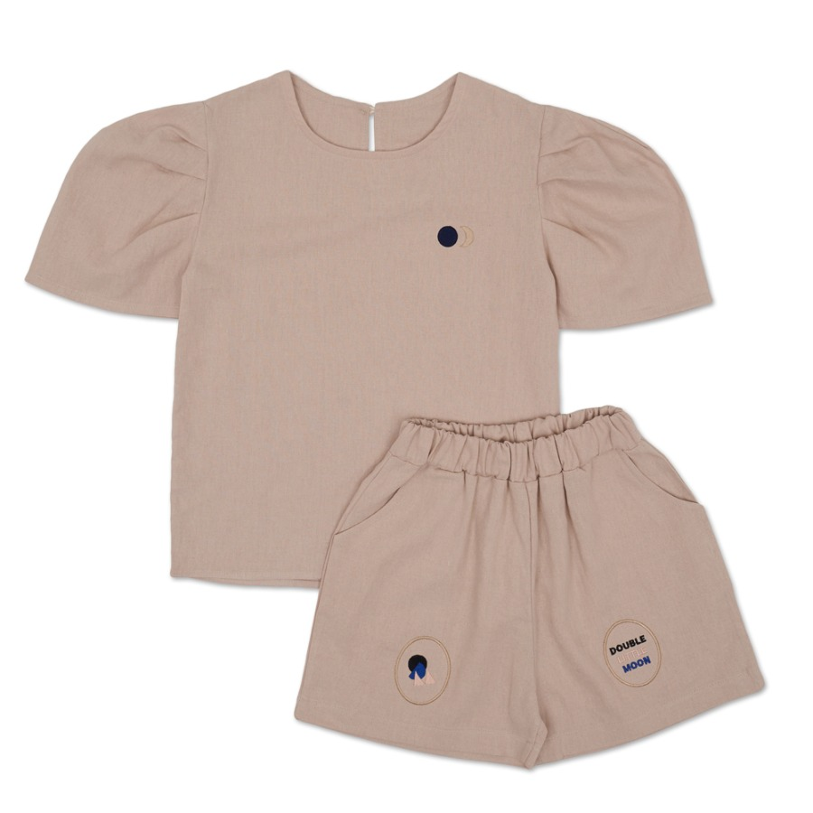 Moon Puff Shirt Set (beige)