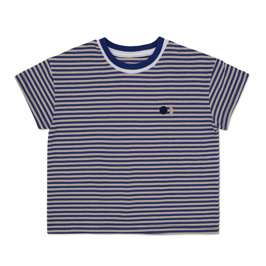 Half Logo Striped T-shirt (biege blue)
