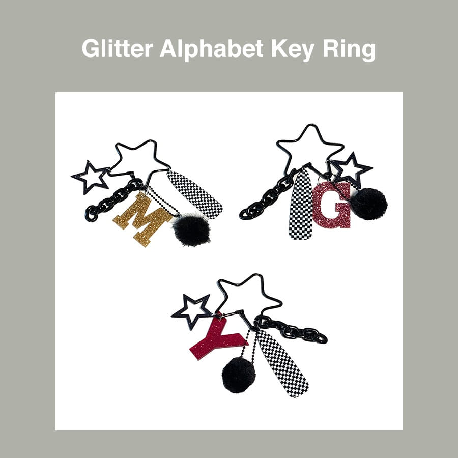 [Penny and Koko] Glitter Alphabet Key Ring