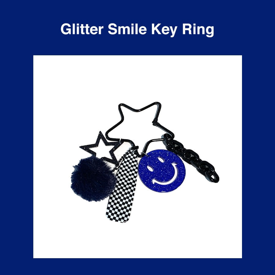 [Penny and Koko] Glitter Smile Key Ring (Blue)