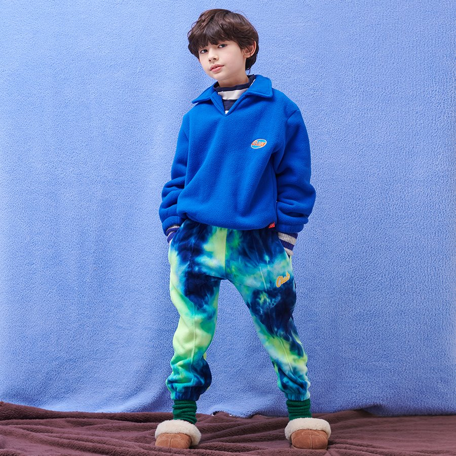 TIE DYE FLEECE SWEAT PANTS_NAVY