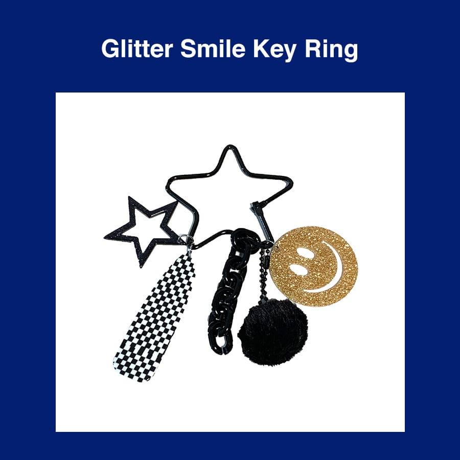 [Penny and Koko] Glitter Smile Key Ring (Gold)