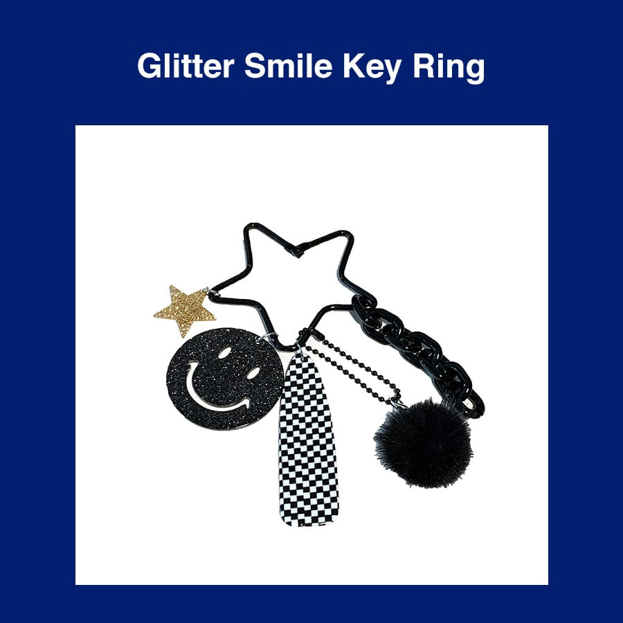 [Penny and Koko] Glitter Smile Key Ring (Black)