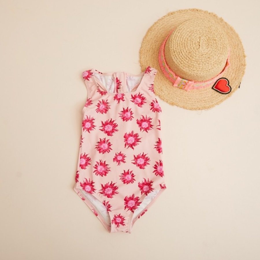 PINK SUNFLOWER ZIPUP SWIMSUIT