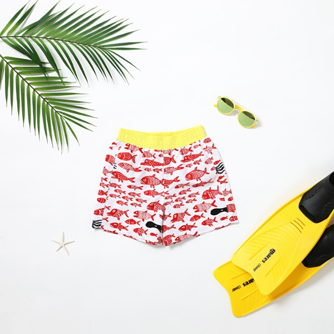 BOY'S SWIM TRUNK - RED FISH