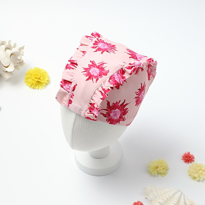 PINK SUNFLOWER SWIM CAP