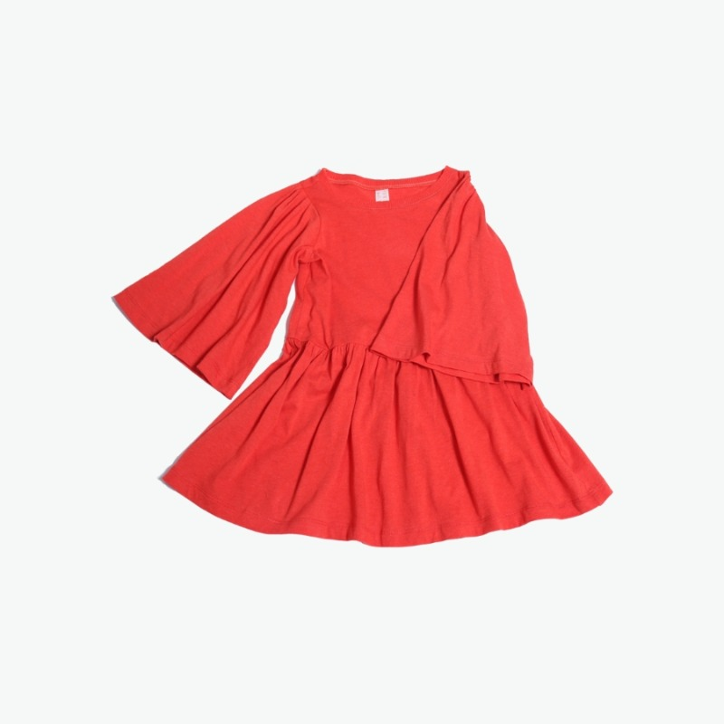 캐리마켓 -  Flounce sleeve dress (Red) 4Y-8Y