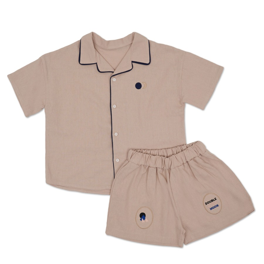 캐리마켓 -  Moon Line Shirt Set (beige)