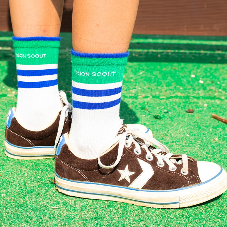 캐리마켓 -  Band Stripes Socks - Green/Blue