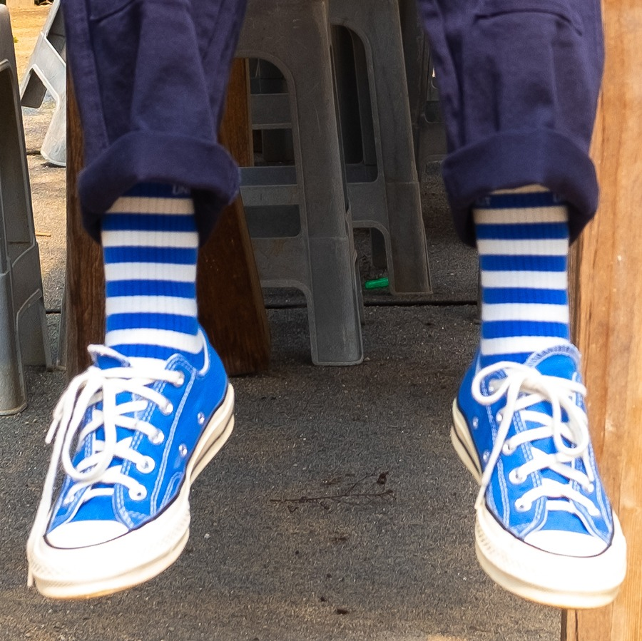 캐리마켓 -  Stripes Socks - Blue