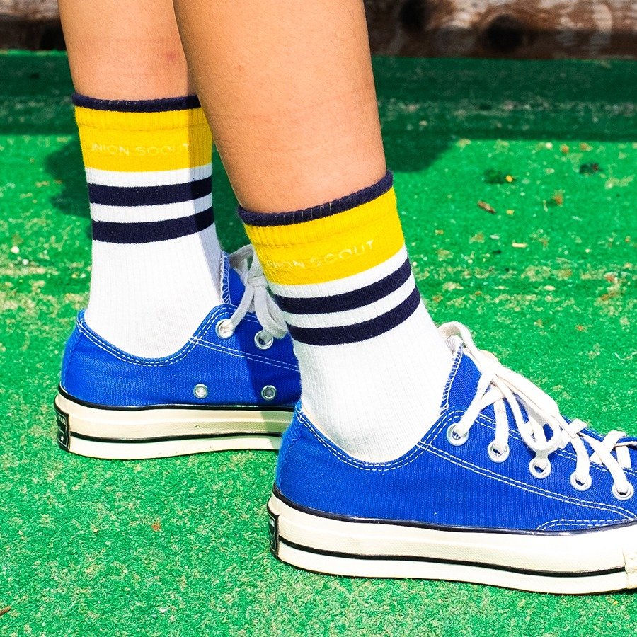 캐리마켓 -  Band Stripes Socks - Yellow/Navy