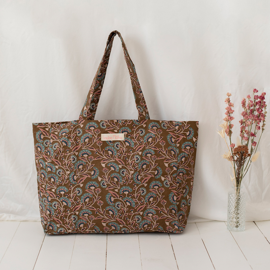 TOTE BAG BEVERLY BRONZE FOLK FLOWERS