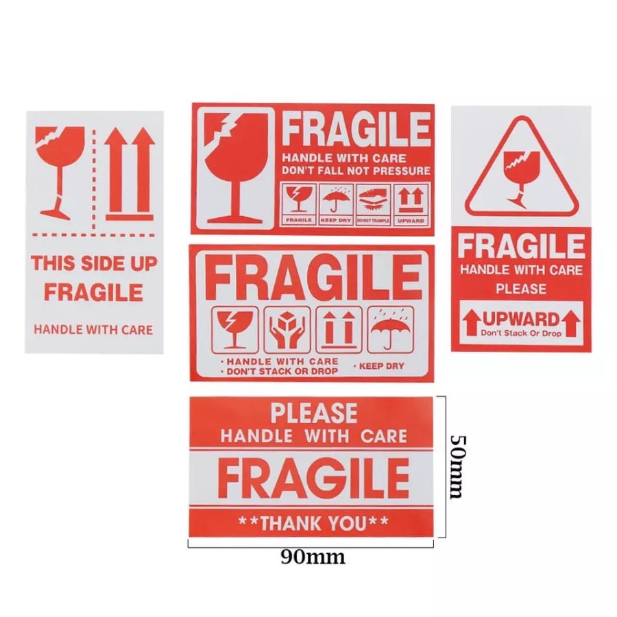 Fragile stickers (5 types)