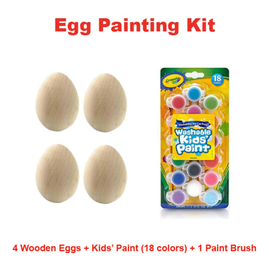 캐리마켓 -  [Instant Writing] Egg Painting Kit (4 wooden eggs + painting kit (18 colors, 1 paint brush)